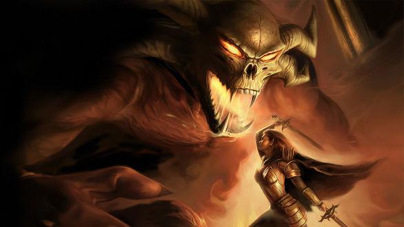 Обои Битва с чудовищем