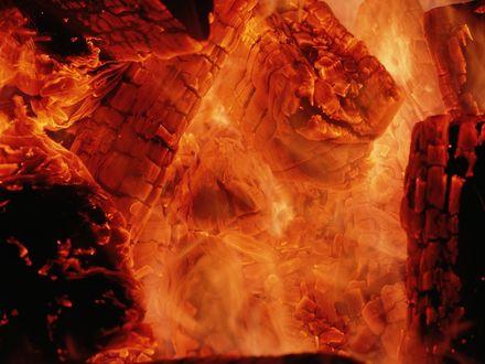 Обои Поленья окутаны огнем