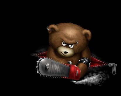 Обои Крутой медведь металлист с пирсингом и бензопилой смотрит угрожающим взглядом (Cute cut)