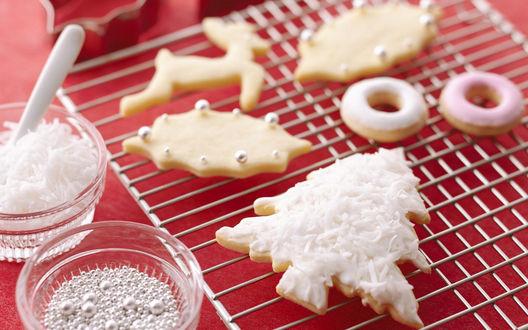 Обои Печенья разных форм к рождеству