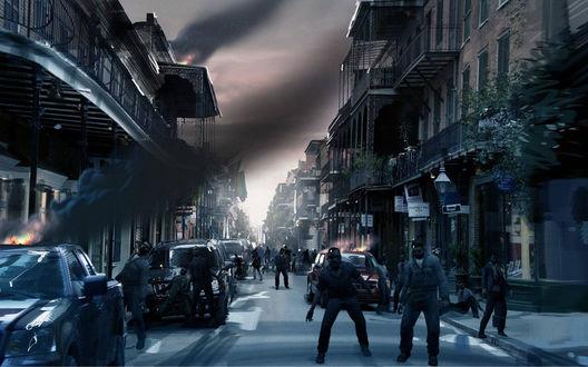 Обои Зомби бродят по городу