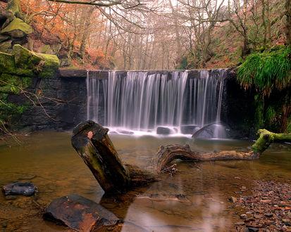 Обои Небольшой водопадик в осеннем лесу