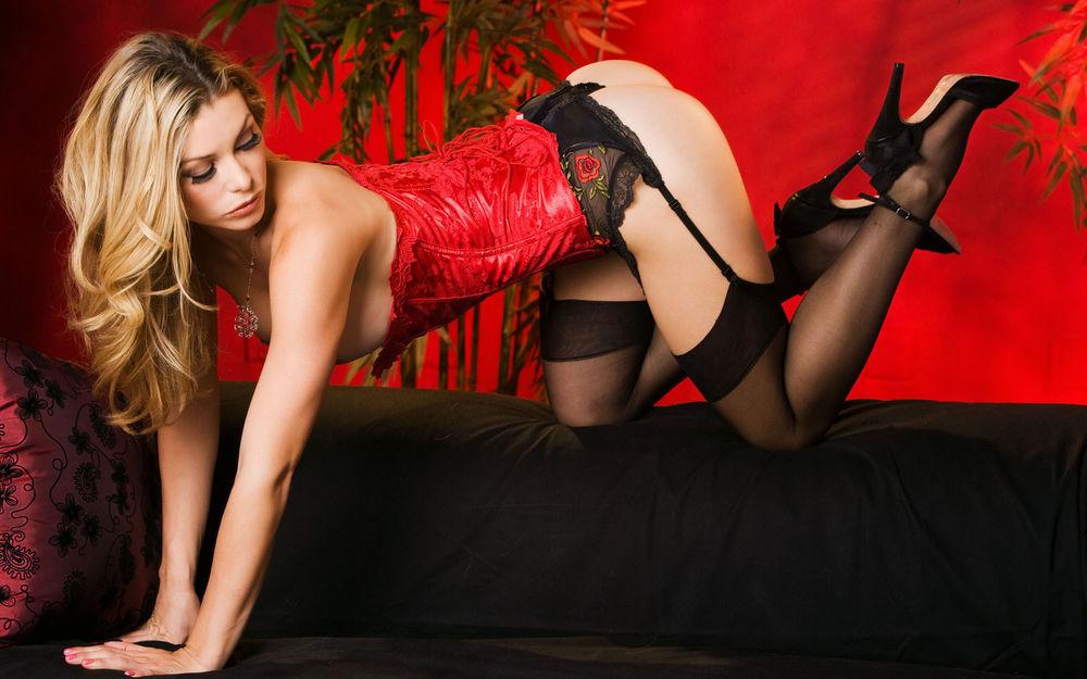 Девушка в чулках и красном корсете фото 193-608