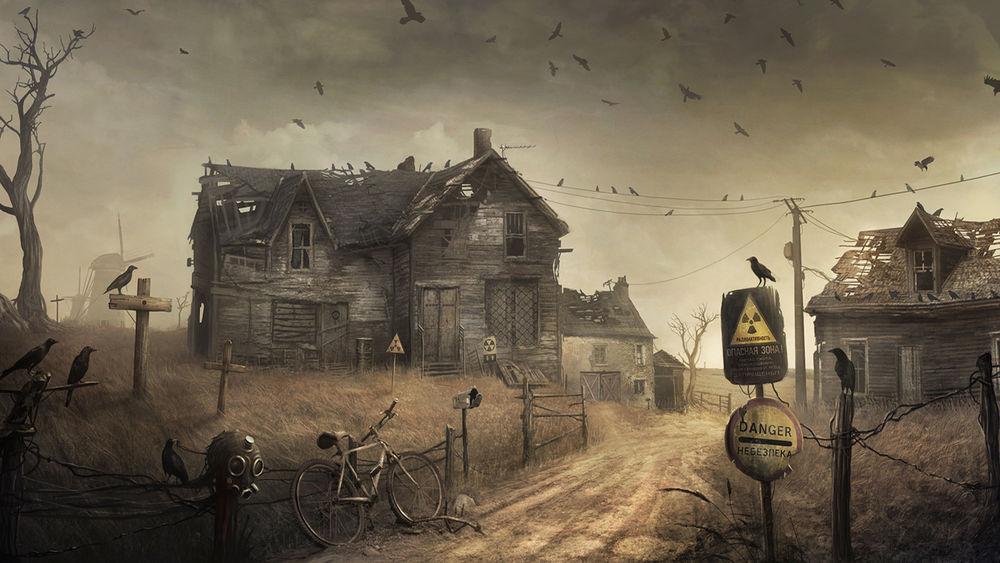 Обои для рабочего стола Заброшенный дом в опасной радиоактивной зоне, вокруг которого летают вороны (Опасная зона, Danger, Небезпека)