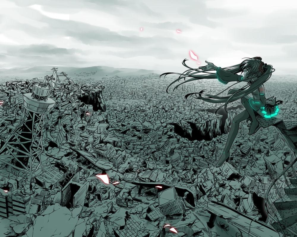 Обои для рабочего стола Вокалоид Хатсуне Мику сидит на останках разрушенного города с лепестками роз