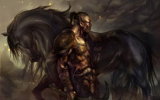 Обои Орк с чёрным конём