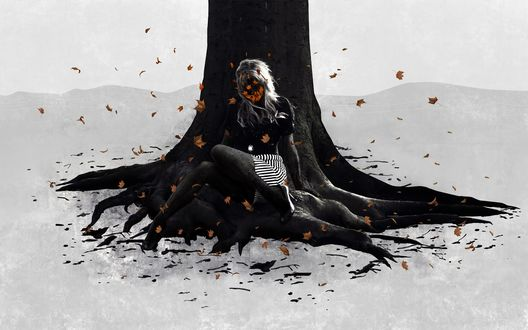 Обои Девушка под осенним деревом, вместо лица осенние листья