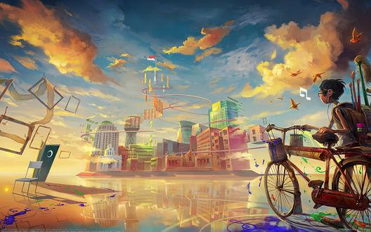 Обои Мальчик на велосипеде очутился в городе из своих фантазий
