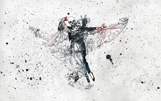 Обои Рисунок изображающий танго со смертью и покрытый кляксами