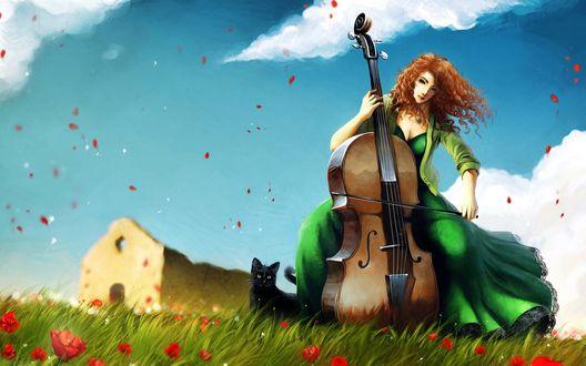 Обои Девушка играет на виолончели, сидя под падающими лепестками