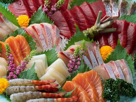 Обои Морской коктейль-тунец, лосось, креветки, зелень, цветы