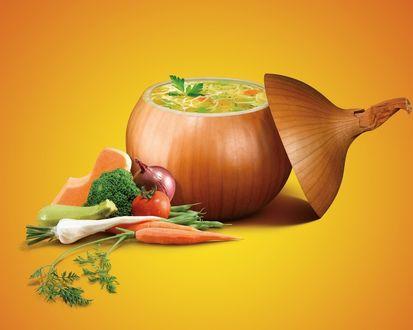 Обои Суп в луковице, морковь, брюква, баклажан, томат тыква