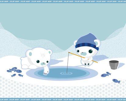 Обои Белые медведи на рыбалке (polar bear)