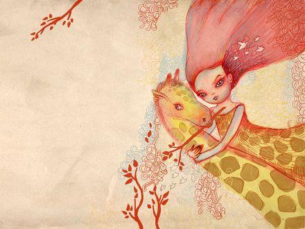 Обои Девочка в обнимку с жирафом, рисунок в розовых тонах