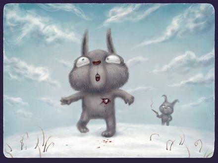 Обои Серый кролик выстрелил в другого кролика, и его сердце пронзила любовь
