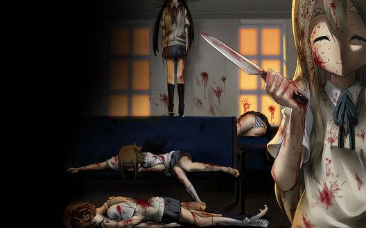 Обои Цумуги с ножом поубивала остальных девчонок из аниме K-ON