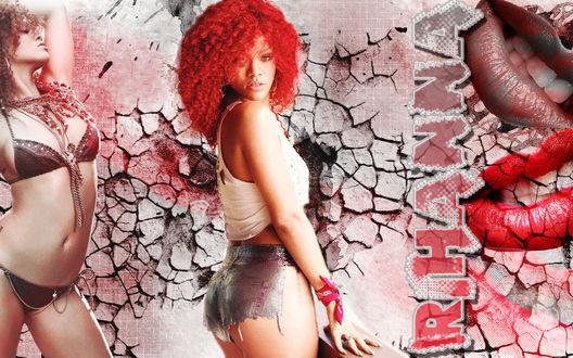 Обои Гламурная Rihanna / Рианна на фоне потрескавшейся стены