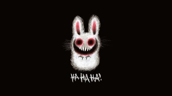 Обои Белый заяц с большими и красными глазами (Ha ha ha!)
