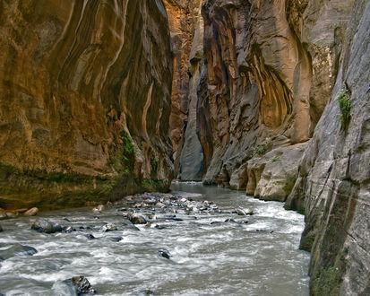 Обои Горная река в ущелье