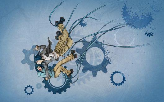 Обои Агито и Акито из аниме 'Air Gear'