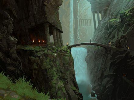 Обои Древнее святилище и мост через бушующую горную реку с водопадом и каменные ступени ведущие к нему
