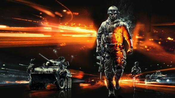 Обои Коллаж на тему игры Battlefield 3 / Поле боя 3 с солдаты, автомат,военная техника, огни фар, дым