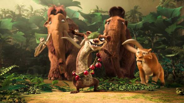 Обои Герои мультфильма Ледниковый период 3: Эра динозавров (Ice Age: Dawn of the Dinosaurs)
