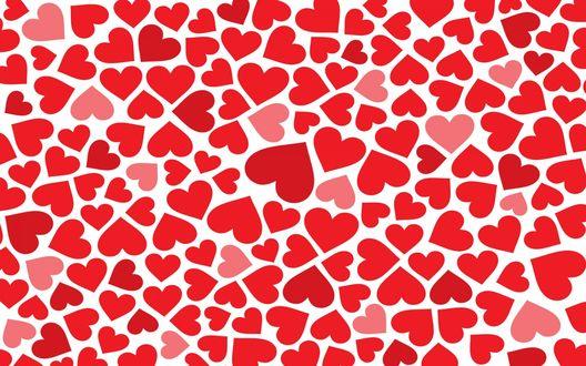 Обои Красные и розовые сердечки