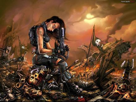 Обои Девушка-боец спецназа после кровавого боя (Pavel Lagutin Artwork)