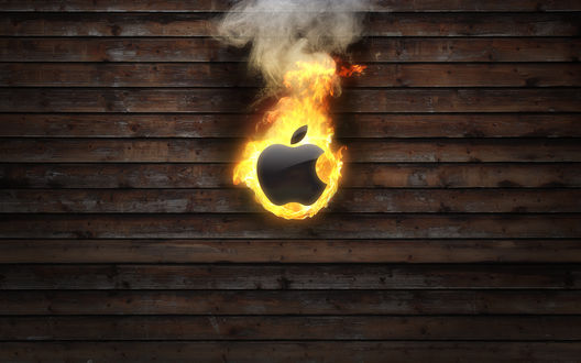 Обои Горящий Apple