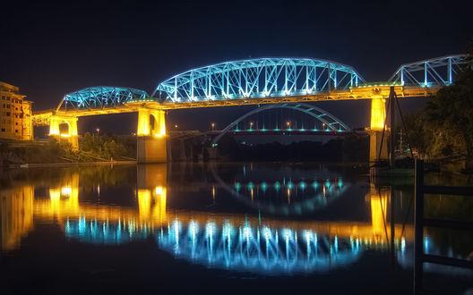 Обои Shelby Street Pedestrian Bridge - Nashville, TN, USA / Пешеходный мост Шелби - Нэшвилл, Теннесси, США