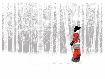 Обои Гейша с двумя гусями в корзине гуляет по лесу