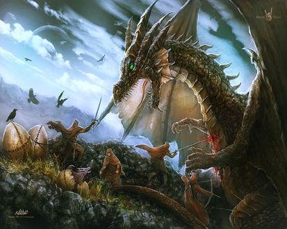 Обои Битва воинов с драконом, заодно они убивают его детёнышей (Heavy Metal)