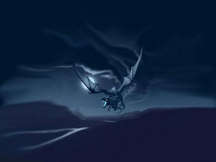Обои Полёт дракона ночью в полнолуние