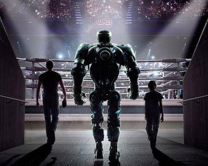 Обои Хью Джекман с мальчиком и роботом выходят на ринг из фильма Живая сталь / Real Steel