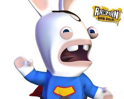 Обои Бешеный кролик - пародия на супермена (Rayman Raving Rabbids)