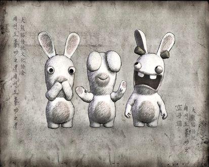 Обои Бешеные кролики - ничего не скажу, ничего не вижу, ничего не слышу. (Иероглифы)