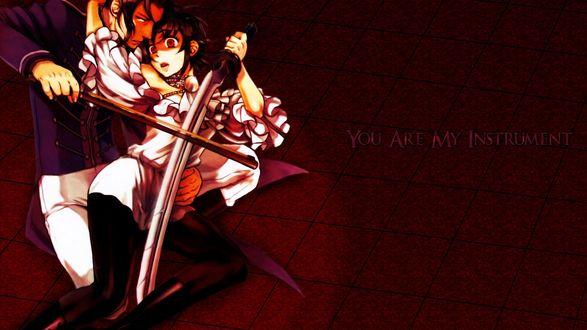 Обои Сайя с мечом в объятии Хадзи со смычком (You Are My Instrument), аниме Blood+