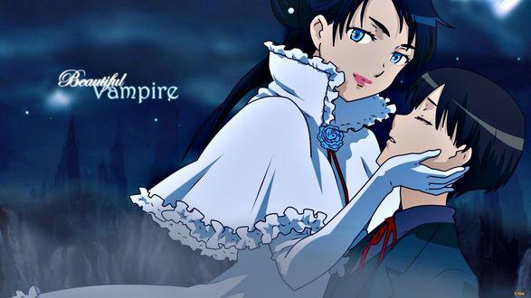 Обои Дива с Риком (Beautiful Vampire), аниме Blood+