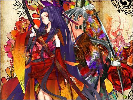 Обои Две девушки в кимоно спина к спине с самурайскими мечами (Wall (c) Snyp)