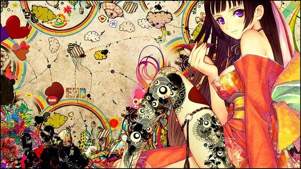 Обои Девушка с длинными волосами в кимоно с блюдцем в руке (Wall (c) Snyp, END)