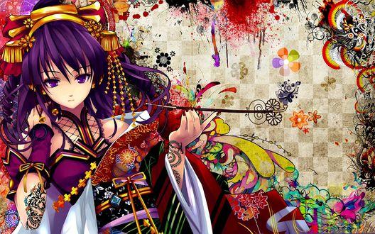 Обои Девушка в традиционном праздничном китайском наряде с тонкой курительной трубкой в руке
