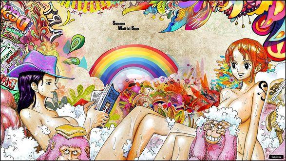 Обои Двое голых девушек в мыльной пене с розовыми обезьянами (Summer, Wall (c) Snyp)