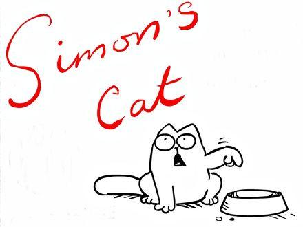 Обои Кот Саймона недовольно показывает лапой на миску, требуя еды (Simon's Cat),  мультфильм Simon's Cat / Кот Саймона