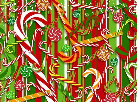 Обои Цветные рождественские леденцы