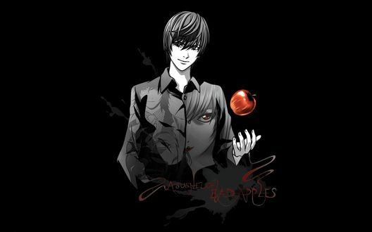 Обои Ягами Лайт подбрасывает в руке красное яблоко (... Bad Apples), аниме Death Note / Тетрадь смерти