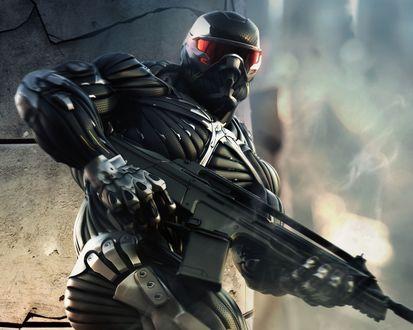 Обои Пророк с автоматом из игры Crysis / Кризис