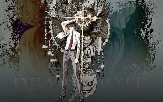 Обои Ягами Лайт с золотым большим крестом стоит перед Рюуком, Рэм, Джелоусом и остальными Богами смерти (Death Note)
