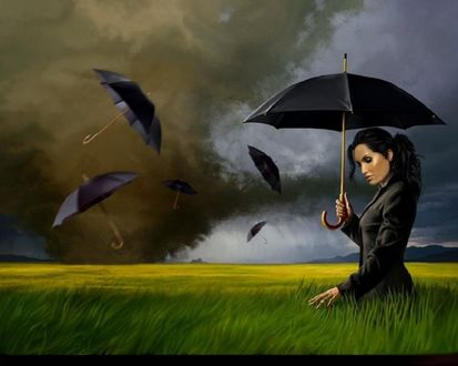 Обои Девушка бредёт по полю, в небе, как чёрные вороны, парят раскрытые зонты