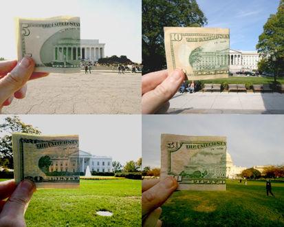 Обои Изображение на долларовых банкнотах совмещены с реально существующими сооружениями